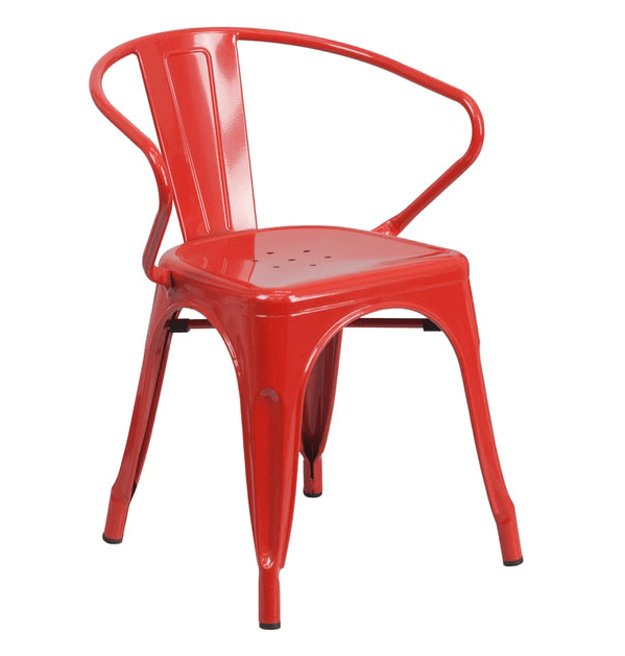 bright red metal armchair