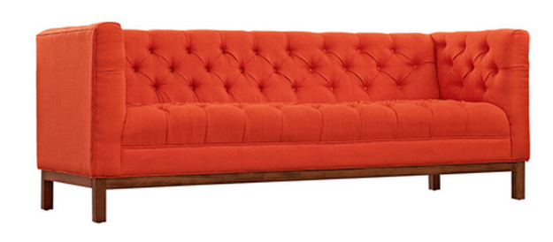 bright red tufted modern sofa