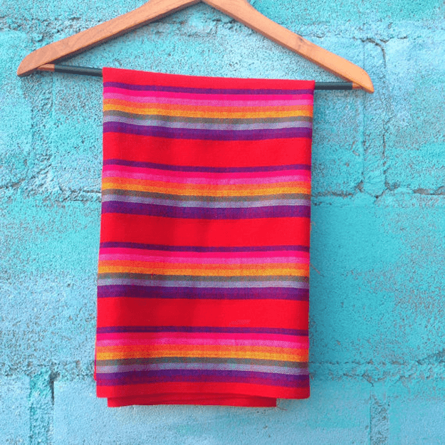 bright red striped mexican textile