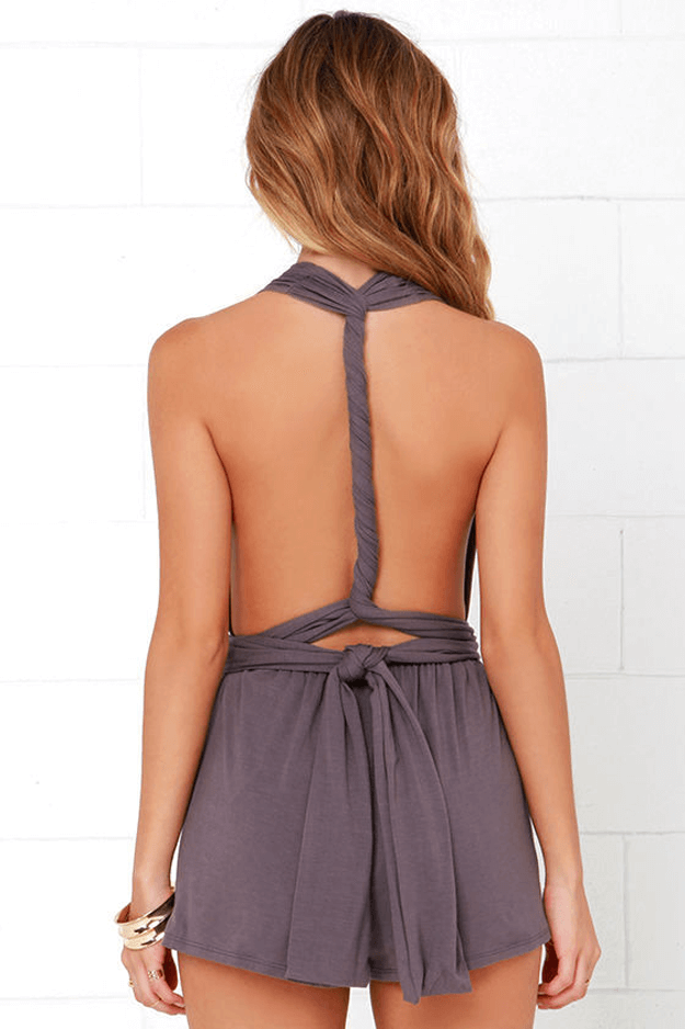 dusty purple romper on tan blonde model