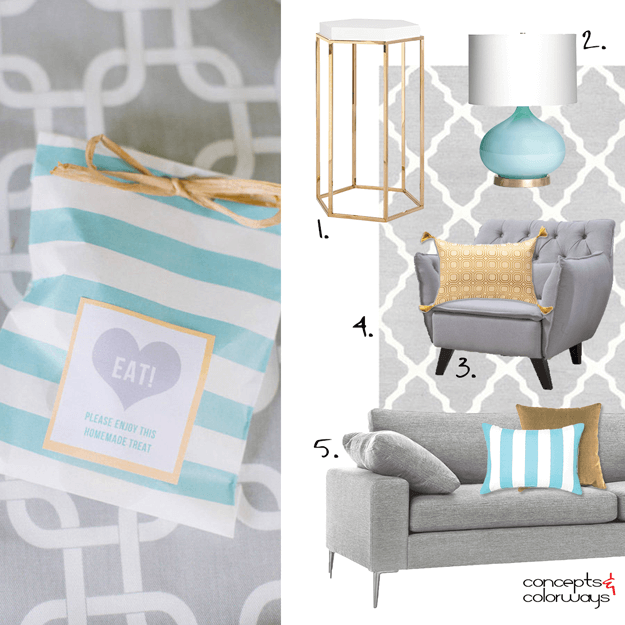 gray interior with turquoise and gold accents