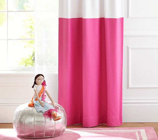 bright pink and white curtain