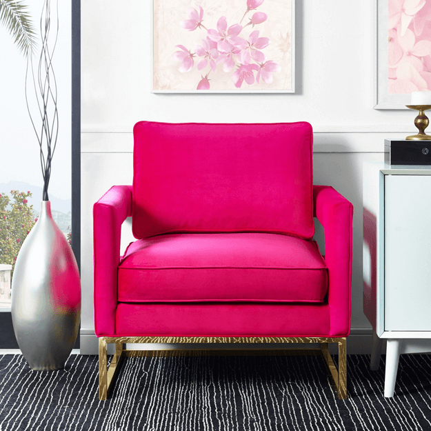 hot pink modern chair in white living room