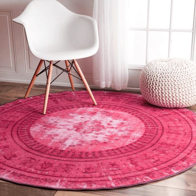 hot pink round overdyed rug