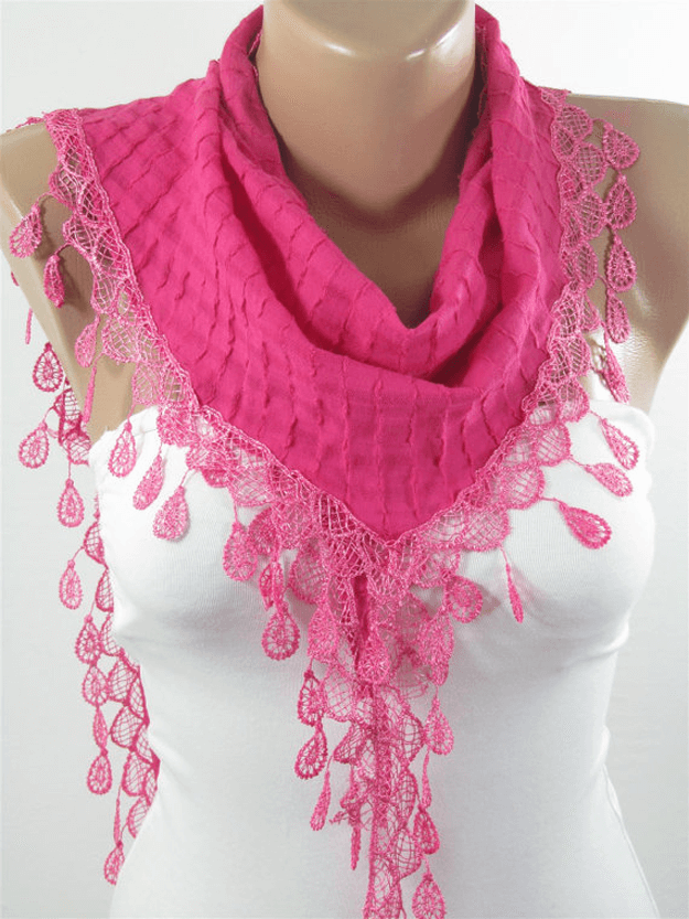 lacey hot pink scarf