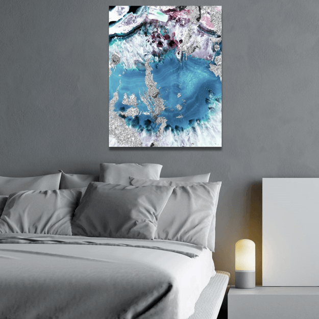 slate blue geode wall painting