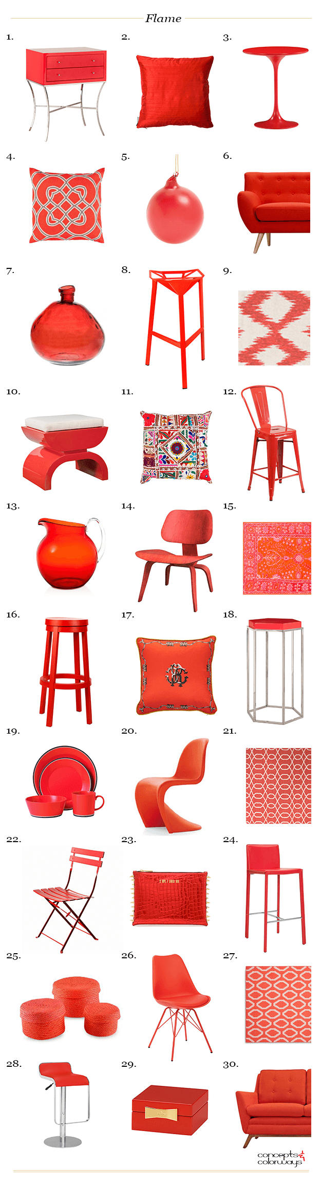 pantone flame interior design product roundup