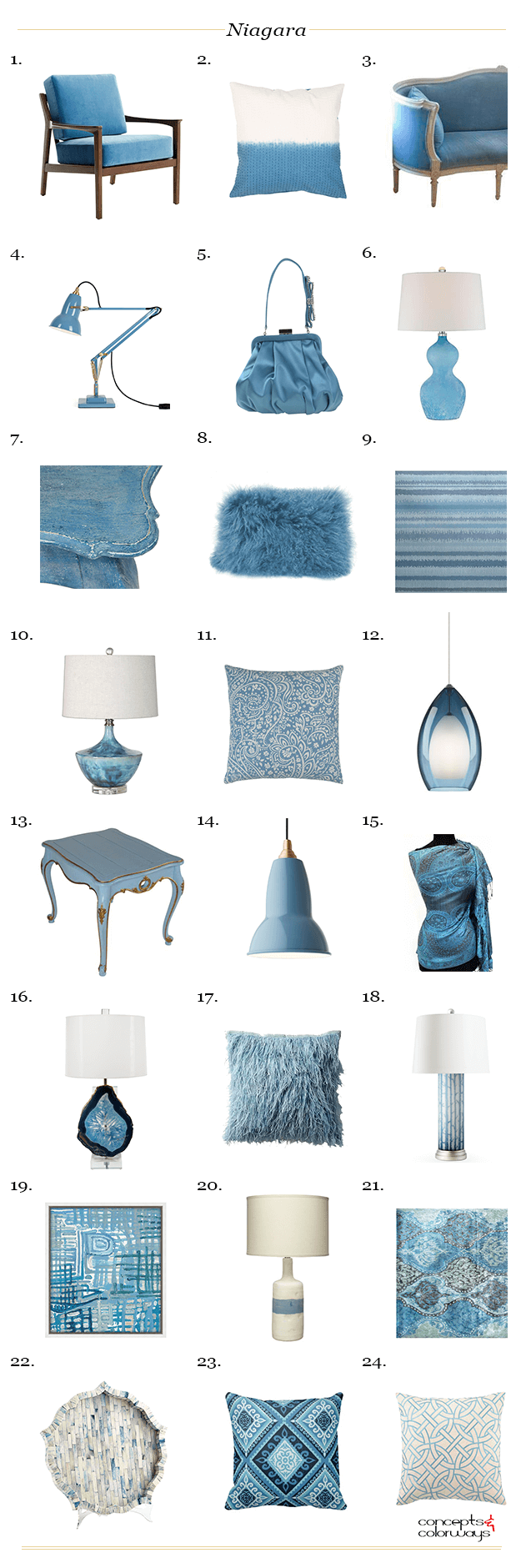 pantone niagara interior design product roundup