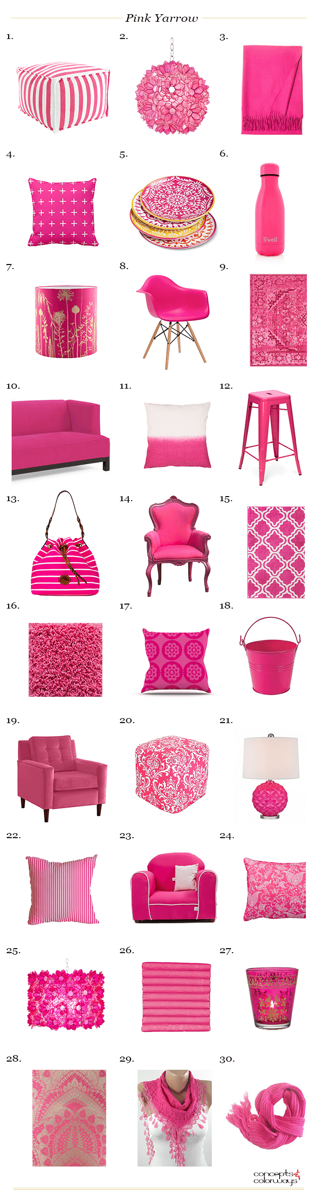pantone pink yarrow interior product roundup