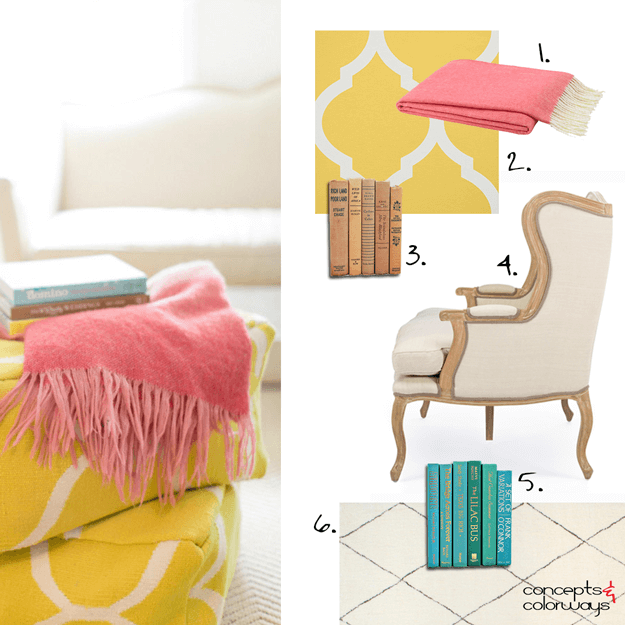 living room get the look with yellow and coral accents