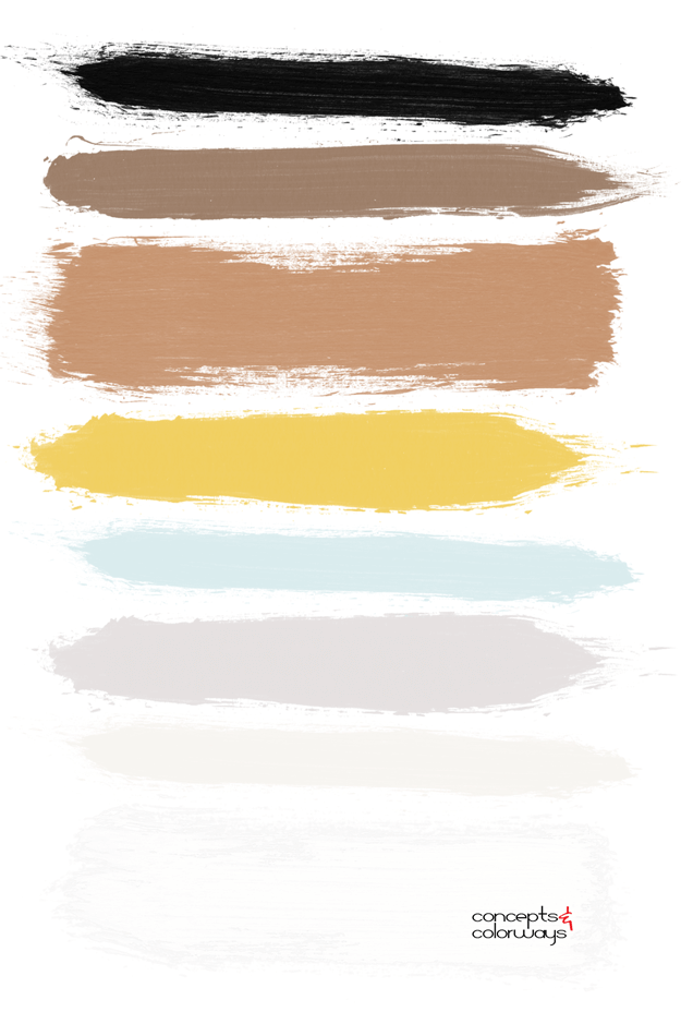 color palette with cream bright yellow mint blue