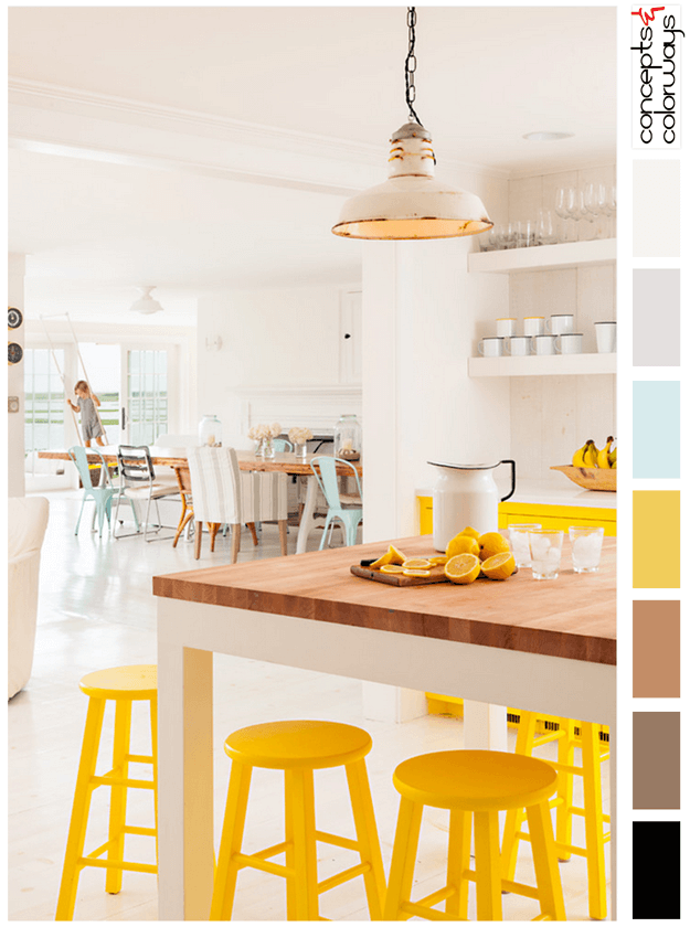 white interior with bright yellow and mint blue accents