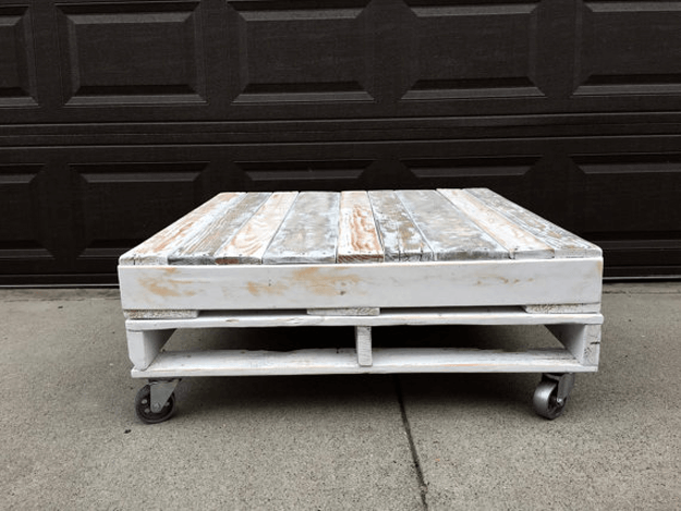white distressed wood pallet coffee table