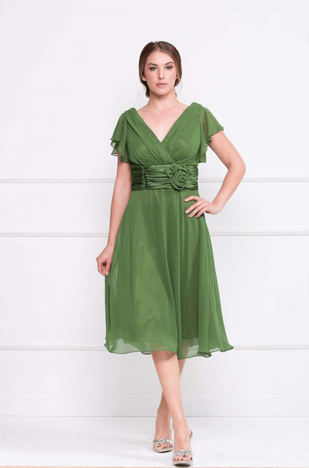 moss green chiffon dress