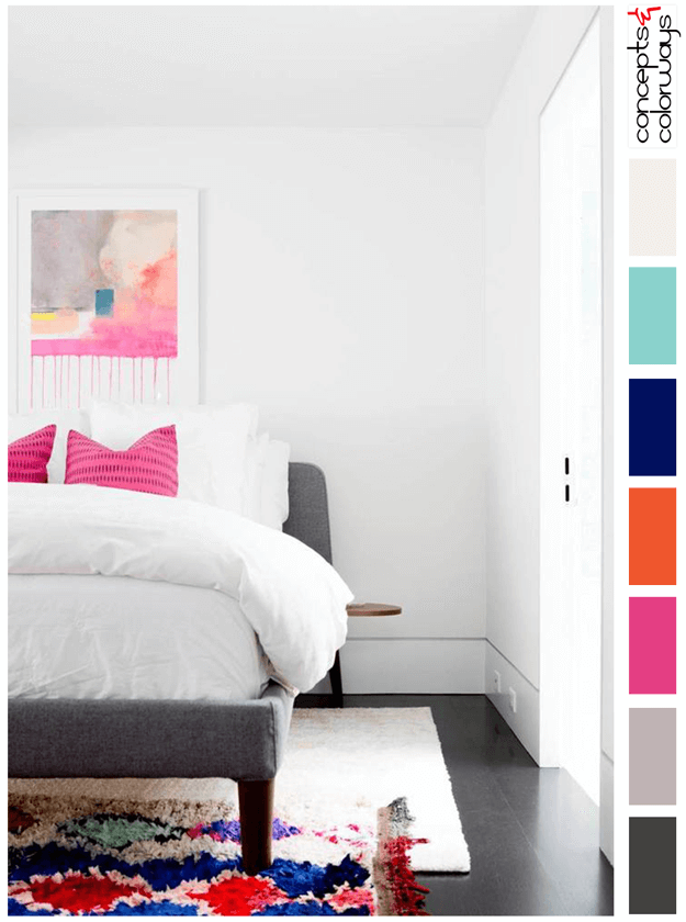 white bedroom with hot pink accents