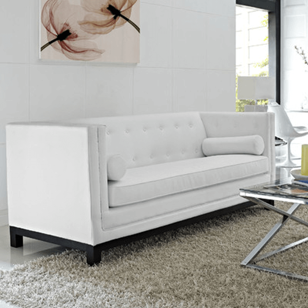 White Boxy Modern Sofa In White Living Room