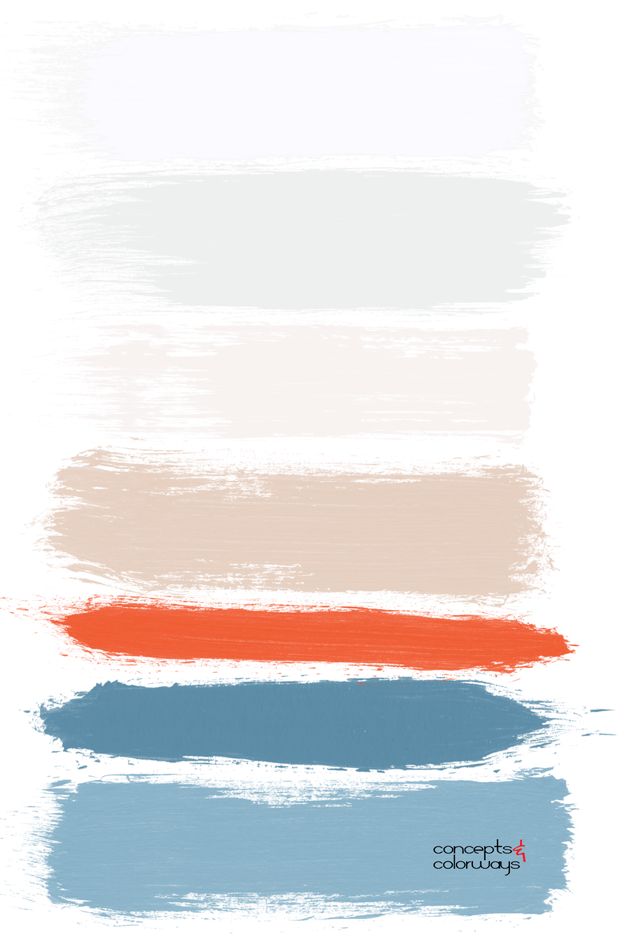bright red slate blue white color palette
