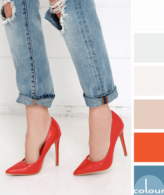 boyfriend jeans with bright red pumps color palette