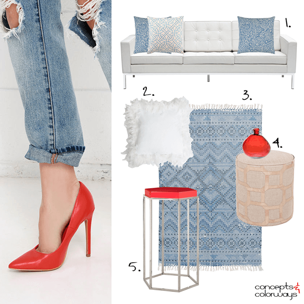 denim blue and bright red interior design