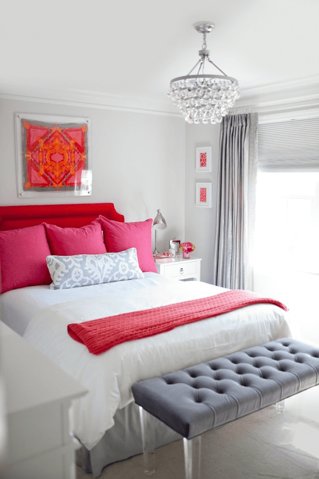 pale gray bedroom bright red hot pink accents