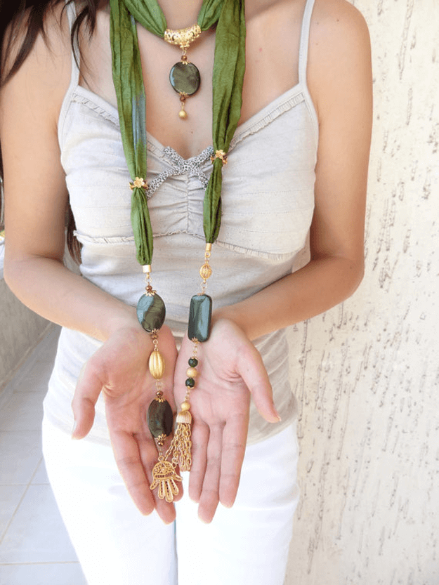 moss green scarf necklace