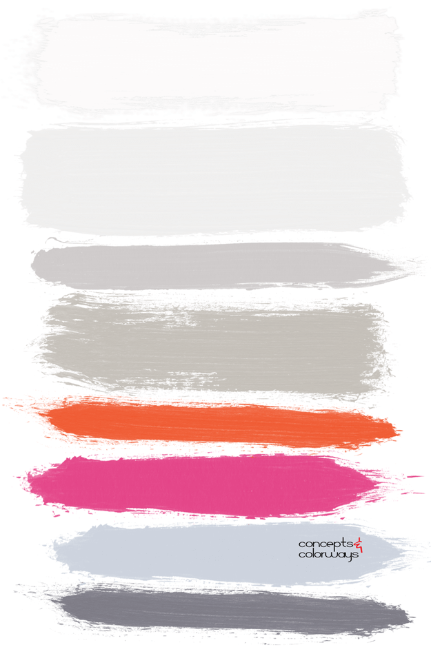 gray red and pink paint palette