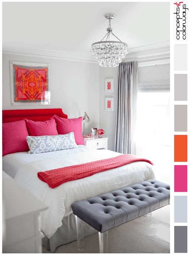 gray bedroom with bright red and pink accents