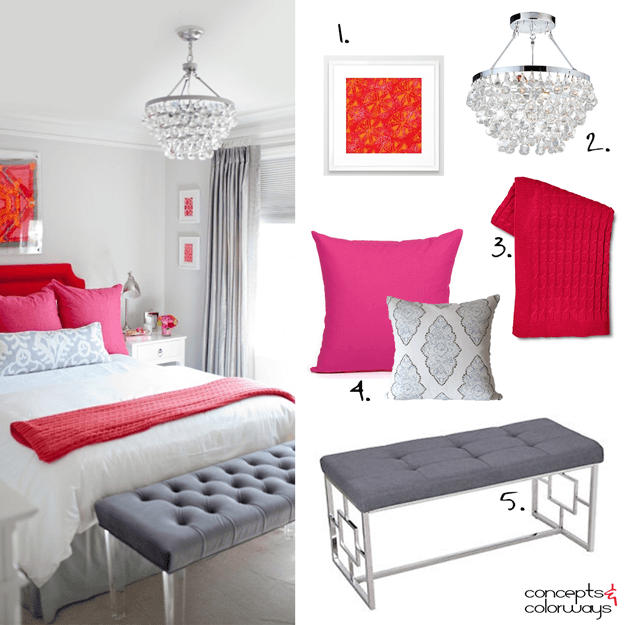 pale gray bedroom with red and pink accents