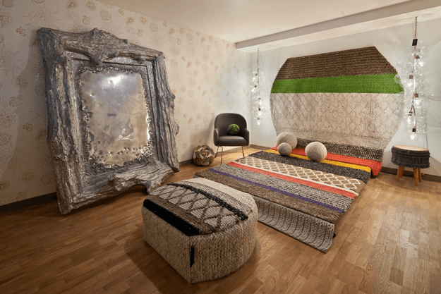 brown and moss green morocan style bedroom