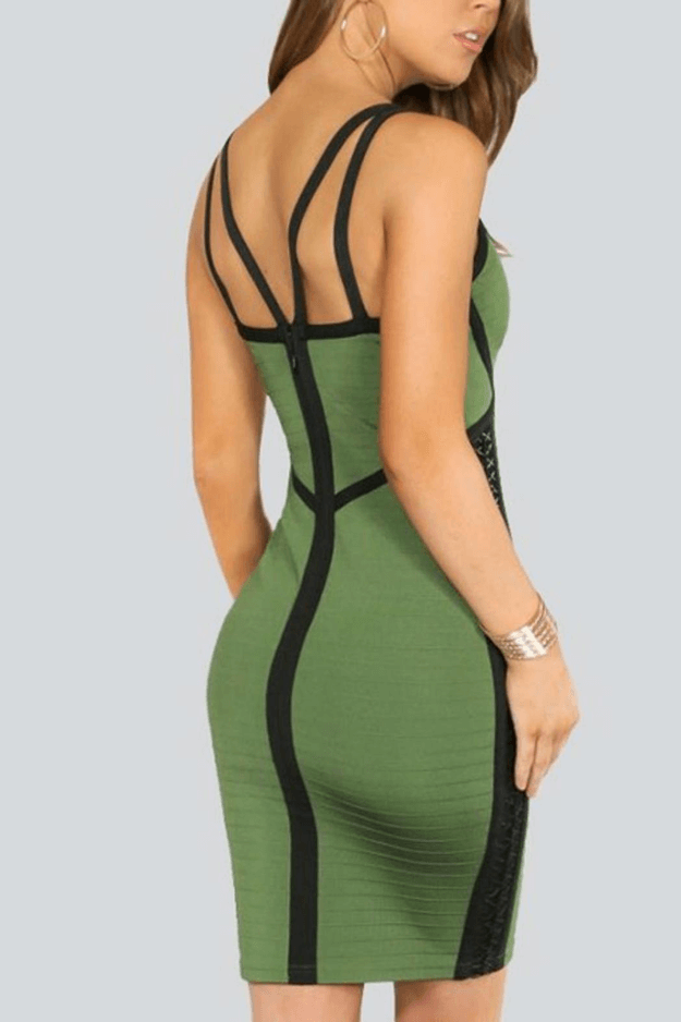 moss green dress with black straps