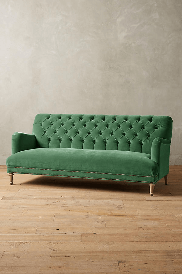 moss green velvet tufted sofa