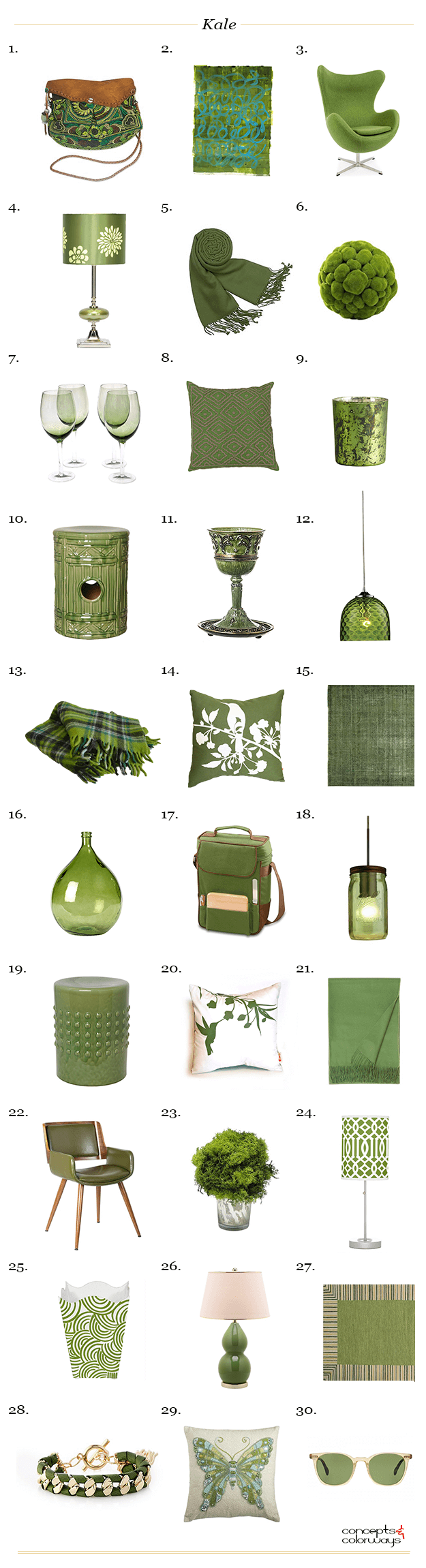 Pantone kale concepts and colorways for Sustainable interior design products