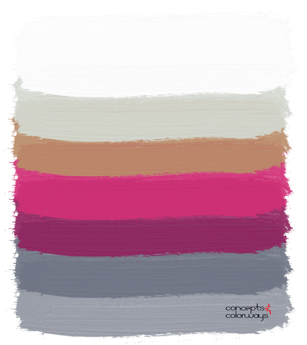 gunmetal gray and fuchsia brushstrokes color palette