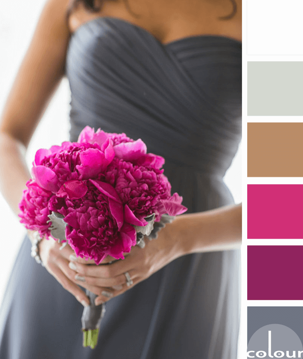 gunmetal gray and fuchsia color palette