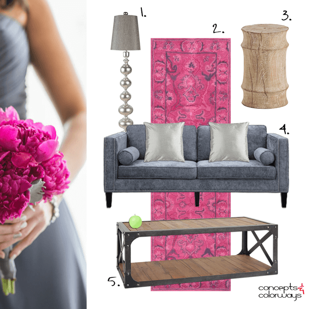 hot pink and gunmetal gray interior design