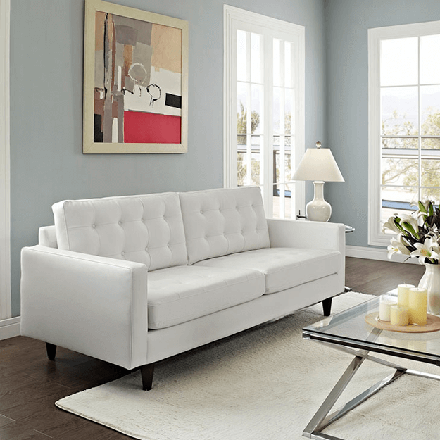 white sofa in gray living room