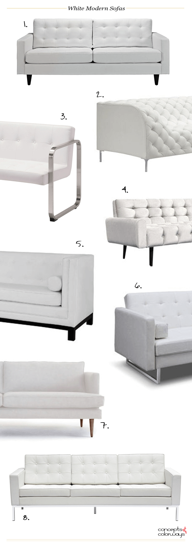 WHITE MODERN SOFAS - Concepts and Colorways