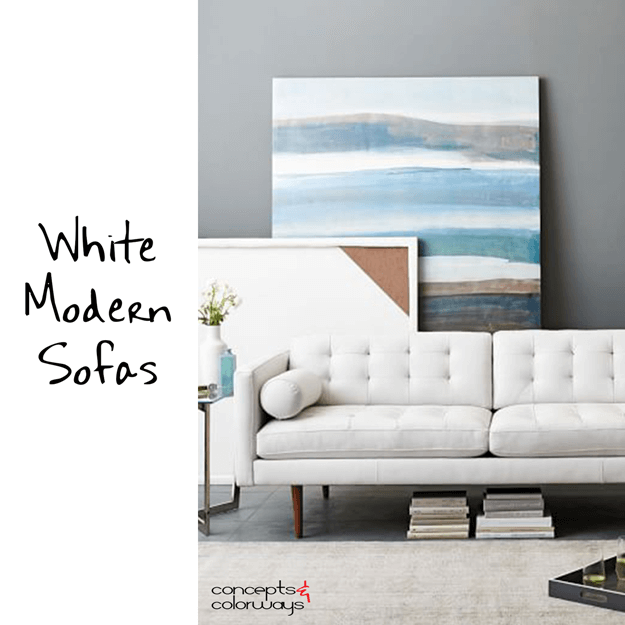 white modern sofas interior design element