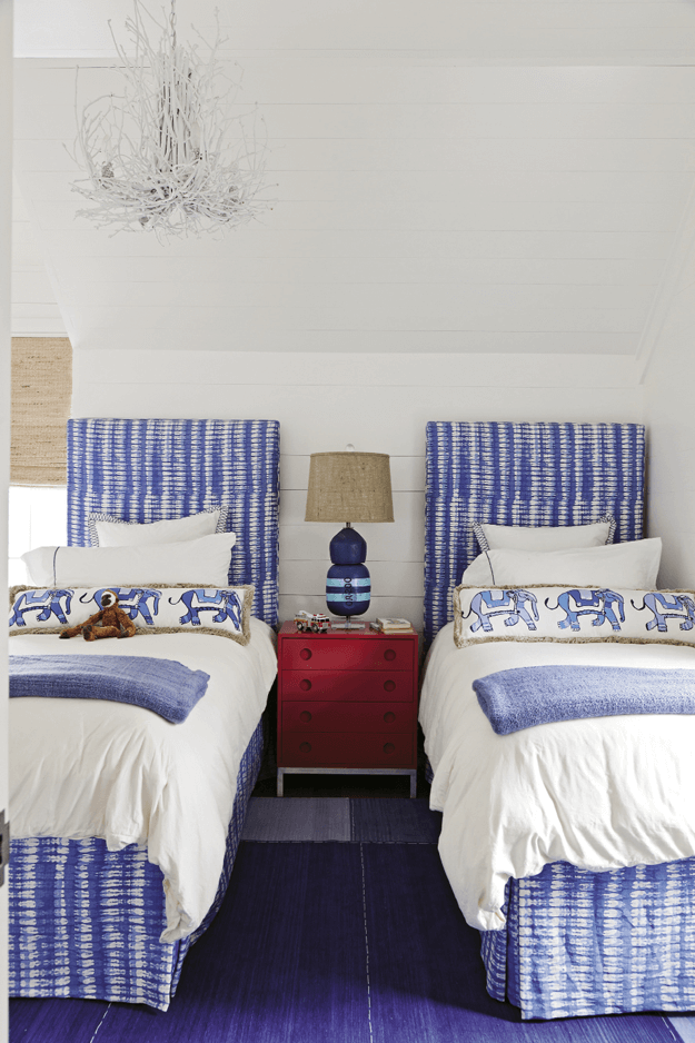 bedroom with periwinkle blue accents