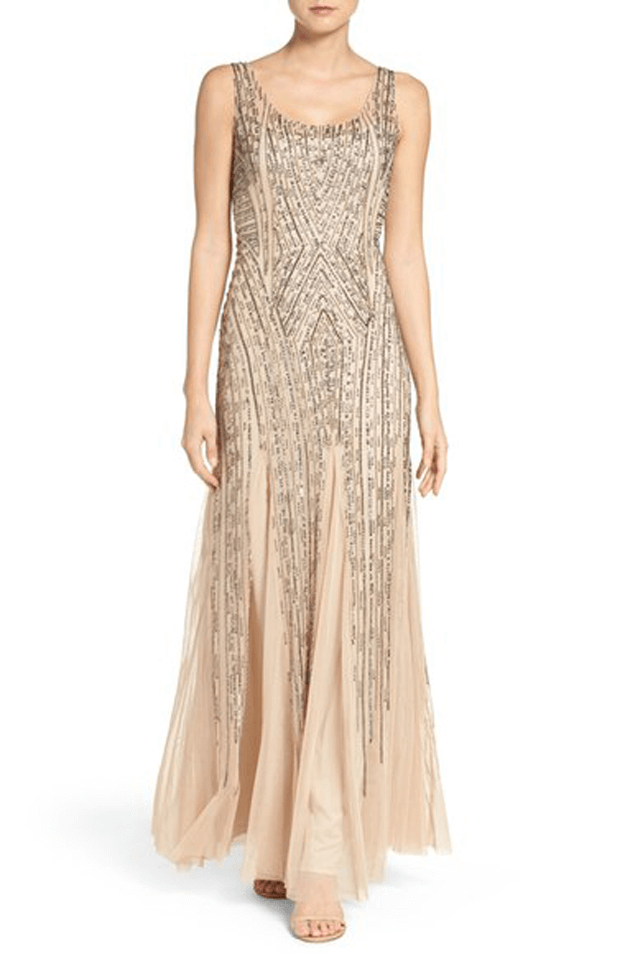 beige beaded tank gown