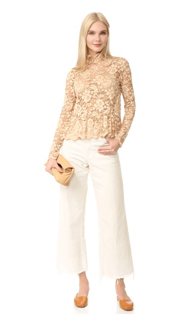 lacey beige blouse