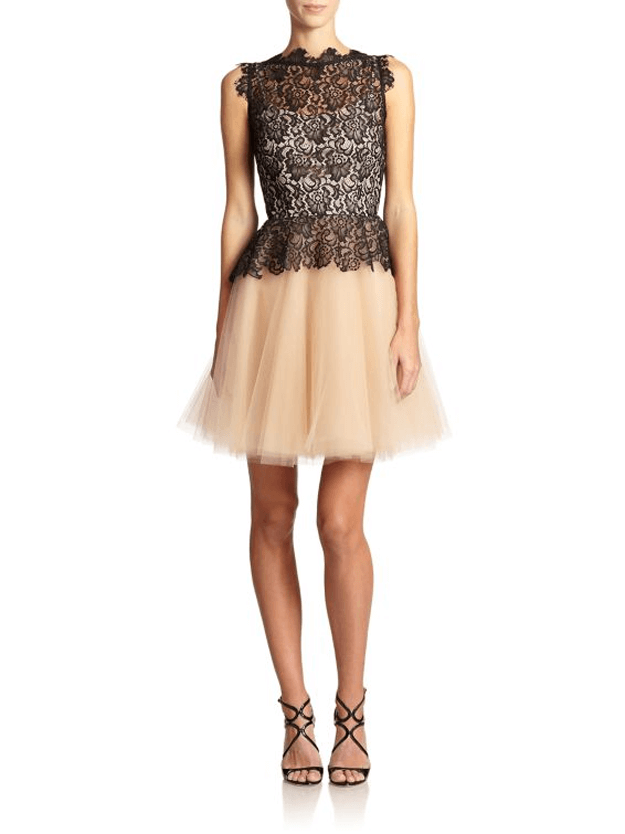 beige tulle dress with black lacey top