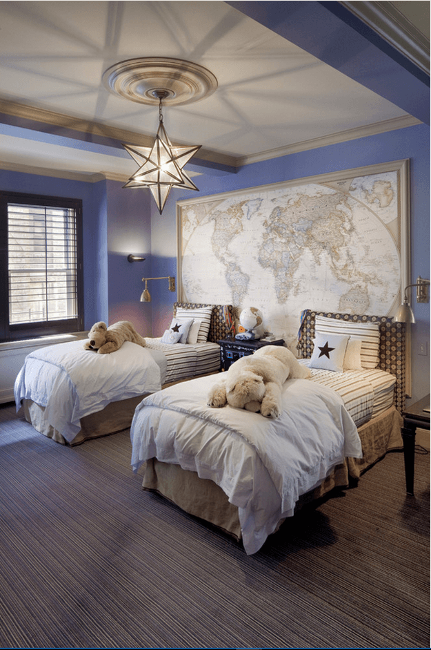 periwinkle blue bedroom with world map wall art