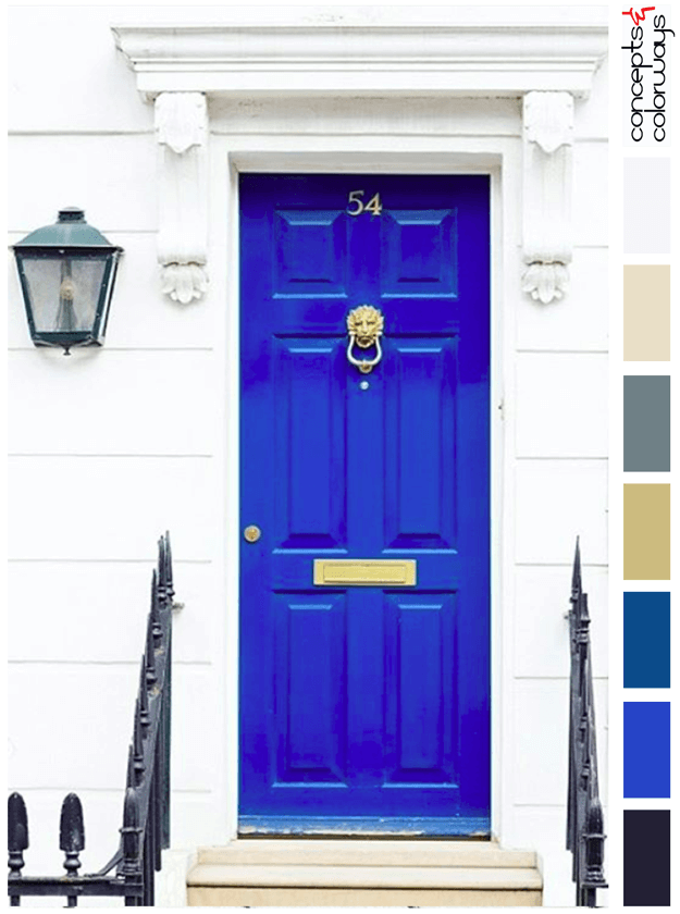 pantone lapis blue door in white stone wall