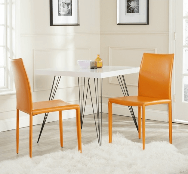 burnt orange bonded leather dining chairs