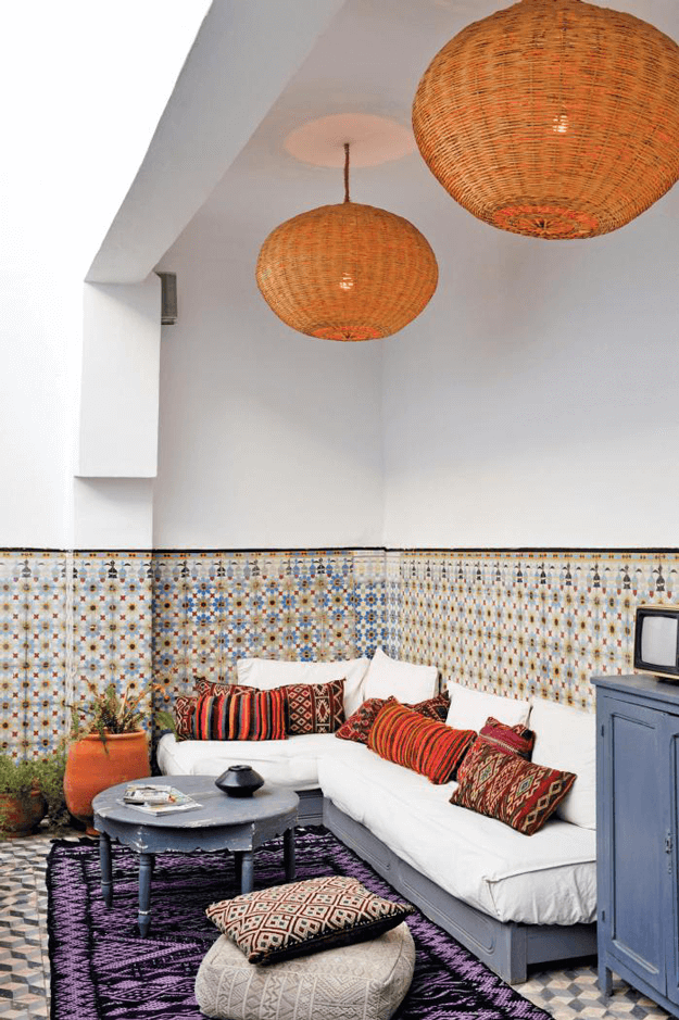 moroccan interior with burnt orange accents