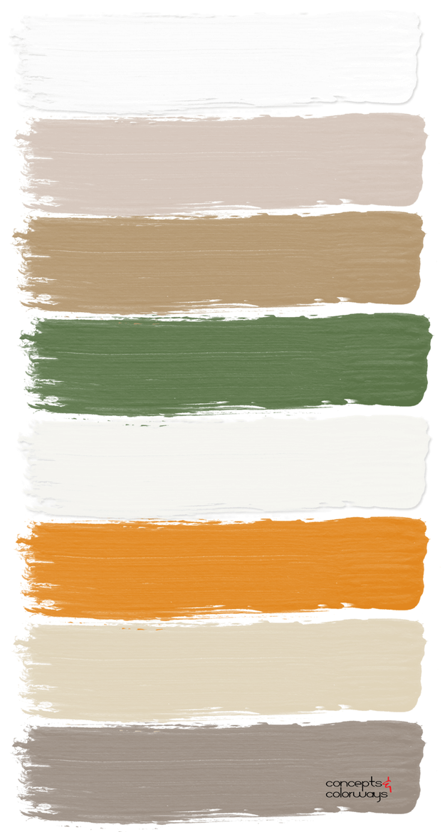 orange and taupe paint palette
