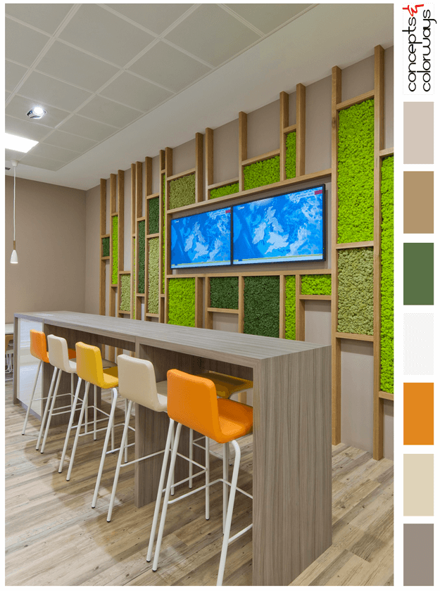 moss feature wall in taupe break room