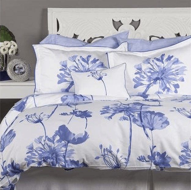 periwinkle blue floral print bedding