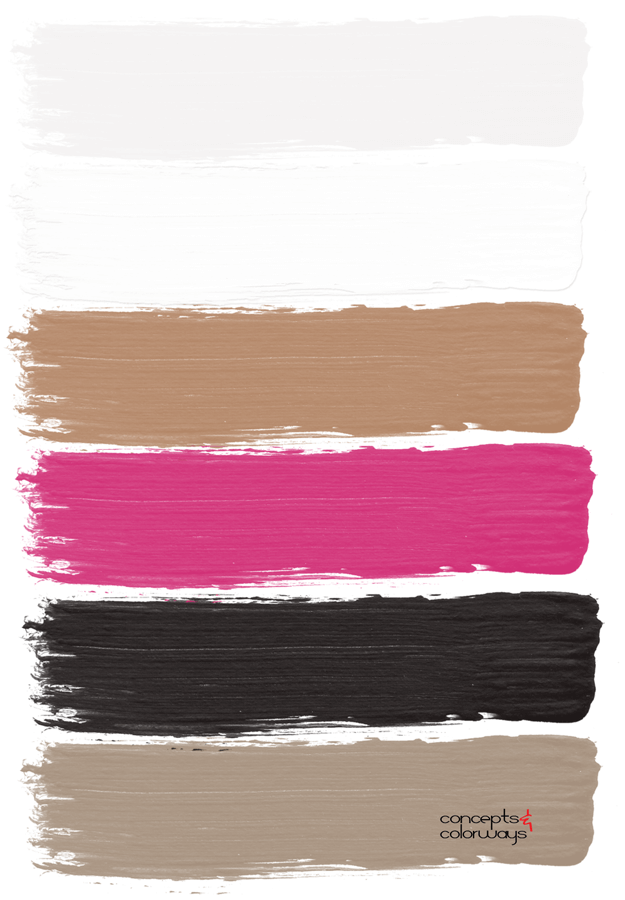 hot pink black white copper taupe paint palette